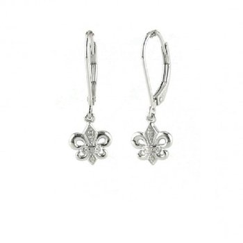 .02ct tw Diamond Fleur de Lis Earrings in Sterling Silver