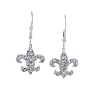 1/4ct tw Diamond Fleur de Lis Earrings in Sterling Silver