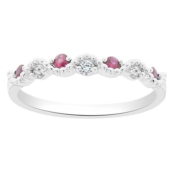 1/5ct tw Diamond & Ruby Stackable Ring in 18K White Gold