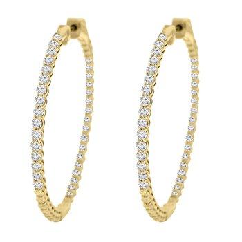 4ct tw NewBorn Lab Created Diamond Hoop Earrings in 14K Yellow Gold