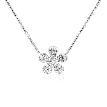 1/4ct tw Diamond Flower Necklace in 14K White Gold