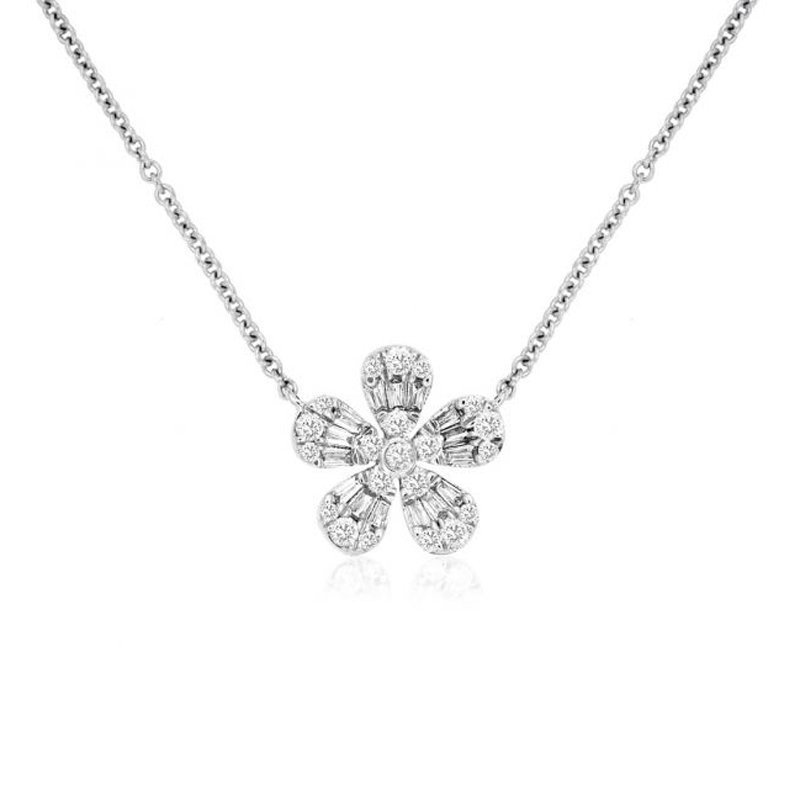 1/4ct tw Diamond Garden District Collection Flower Necklace in 14K White Gold