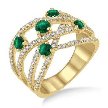 1 1/4ct tw Diamond & Emerald Fashion Ring in 14K Yellow Gold