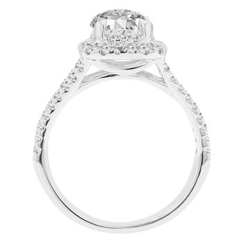 5/8ct tw NewBorn Lab Created Diamond Halo Engagement Ring Setting in 14K White Gold