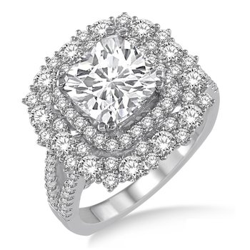 2ct tw Diamond Halo Engagement Ring Setting in 18K White Gold