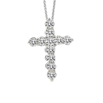 1/4ct tw Diamond Cross Necklace in Sterling Silver & Platinum