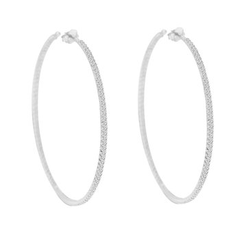 5ct tw Diamond Hoop Earrings in 14K White Gold