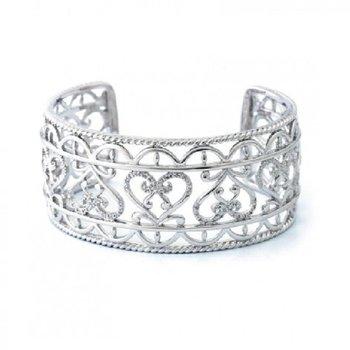 1/8ct tw Diamond Heart Cuff Bracelet in Sterling Silver