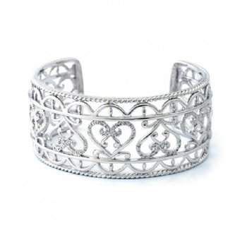 1/8ct tw Diamond Heart Cuff Bracelet in Sterling Silver