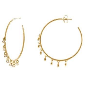 Diamond Dangle Hoop Earrings in 14K Yellow Gold