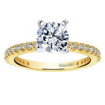 1/3ct tw Diamond Engagement Ring Setting in 14K White & Yellow Gold