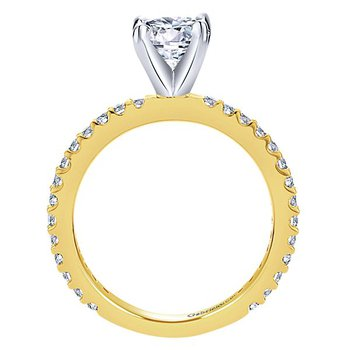 1/3ct tw Diamond Engagement Ring Setting in 14K White & Yellow Gold