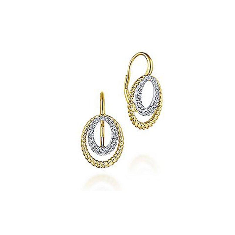 3/8ct tw Diamond Fashion Earrings in 14K White & Yellow Gold