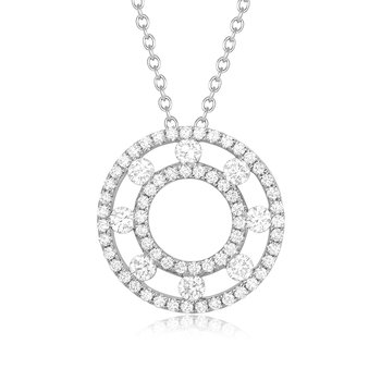 1 5/8ct tw Diamond Double Circle Necklace in 14K Yellow Gold