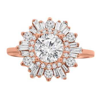 5/8ct tw Diamond Halo Engagement Ring Setting in 14K Rose Gold