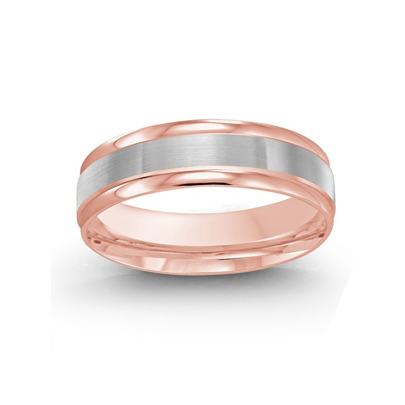 6mm Wedding Ring in 14K White and Rose Gold