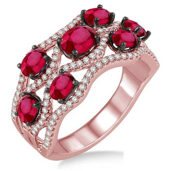 1/2ct tw Diamond & Ruby Fashion Ring in 14K Rose Gold