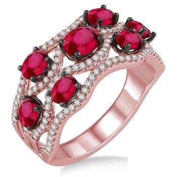 1/2ct tw Diamond & Ruby Fashion Ring in 14K Rose Gold