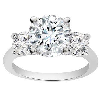 2 3/4ct tw NewBorn Lab Created Diamond Three Stone Engagement Ring in 14K White Gold