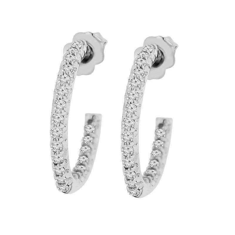 3/4ct tw Diamond Hoop Earrings in Sterling Silver & platinum