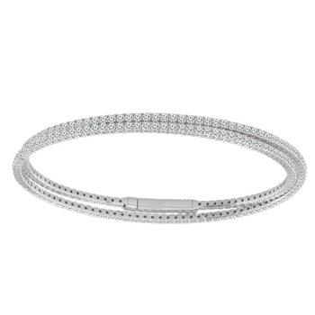 2 3/4ct tw Diamond Double Row Bangle Bracelet in 14K White Gold