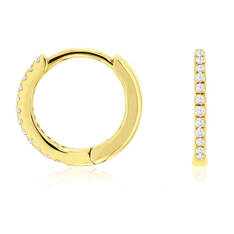 1/14ct tw Diamond Hoop Earrings in 14K Yellow Gold
