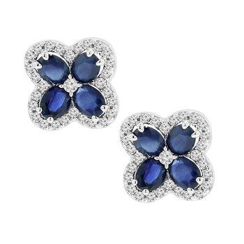 2 1/8ct tw Diamond & Blue Sapphire Flower Stud Earrings in 14K White Gold