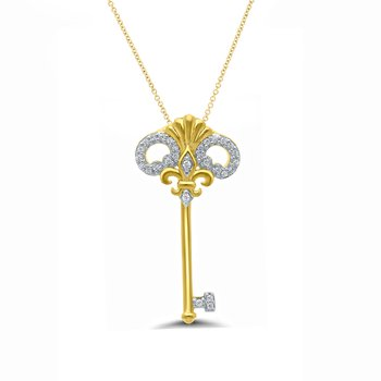 1/10ct tw Diamond Fleur De Lis Key Necklace in 10K Yellow Gold