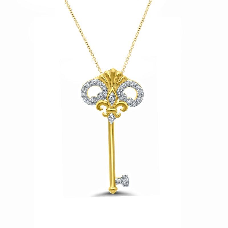 1/10ct tw Diamond Fleur De Lis Key Necklace in 10K Yellow Gold