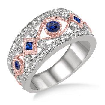 3/8ct tw Diamond & Blue Sapphire Fashion Ring in 14K White & Rose Gold