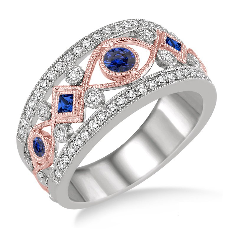3/8ct tw Diamond & Blue Sapphire Fashion Ring in 14K White & Rose Gold