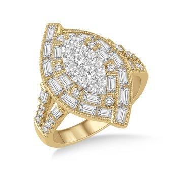 1 3/4ct tw Diamond Thousand Points of Light Fashion Ring in 18K White & Yellow Gold