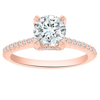 1/2ct tw Ladies NewBorn Lab Created Diamond Engagement Ring Setting in 14K Rose Gold