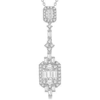 1 7/8ct tw Diamond Halo Necklace in 18K White Gold