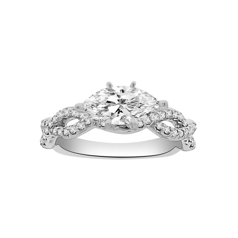 1/4ct tw Diamond Engagement Ring Setting in 19K White Gold