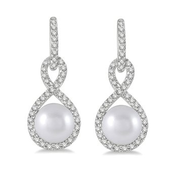 1/4ct tw Diamond & Cultured Pearl Earrings in 10K White Gold