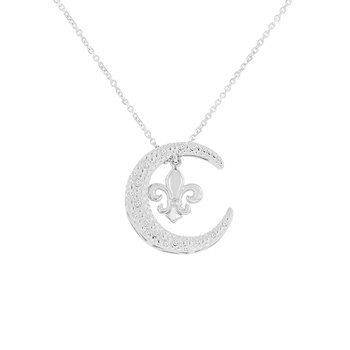 1/14ct tw NewBorn Lab Created Diamond Nola Collection Crescent Moon & Fleur De Lis Necklace in Sterling Silver