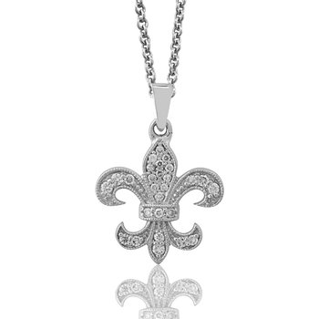 1/3ct tw Diamond Fleur de Lis Necklace in Sterling Silver