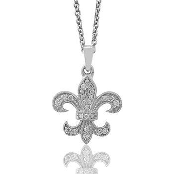 1/3ct tw Diamond Fleur de Lis Necklace in Sterling Silver