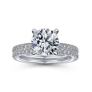 1/4ct tw Diamond Engagement Ring Setting in 18K White Gold