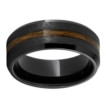 8mm Wedding Ring in Black Ceramic with Bourbon Barrel Inlay