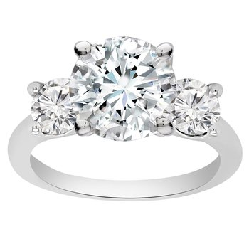 1 1/3ct tw NewBorn Lab Created Diamond Three Stone Engagement Ring in 14K White Gold