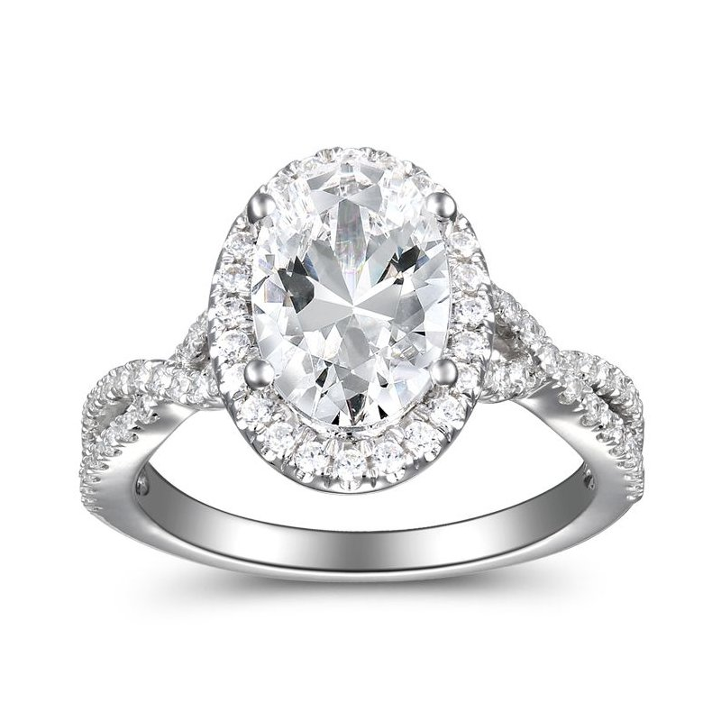 2 1/3ct tw Diamond Halo Engagement Ring in 14K White Gold