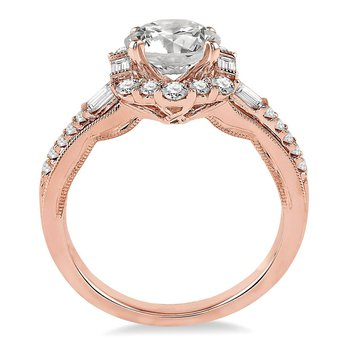 1/2ct tw Diamond Halo Engagement Ring Setting in 14K Rose Gold