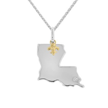 .01ct tw Diamond Louisiana State of Mind Necklace in 10K Yellow gold & Sterling Silver