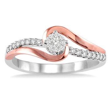 1/5ct tw Diamond Thousand Points of Light Engagement Ring in 14K White & Rose Gold