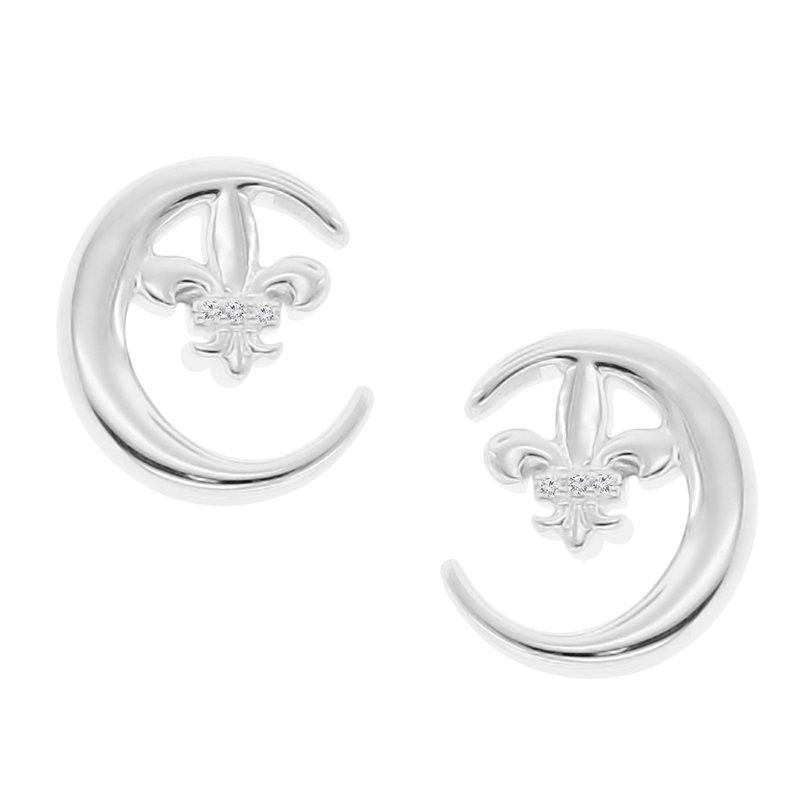 .01ct tw Diamond Fleur De Lis Moon & Back Earrings in Sterling Silver & 14K White Gold