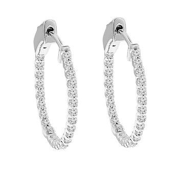1/2ct tw Diamond Hoop Earrings in 14K White Gold