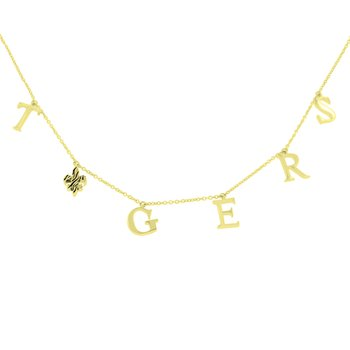 Tiger Fleur De Lis Necklace in 10K Yellow Gold