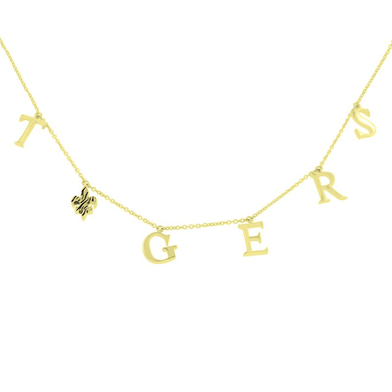 Tiger Fleur De Lis Necklace in 10K Yellow Gold